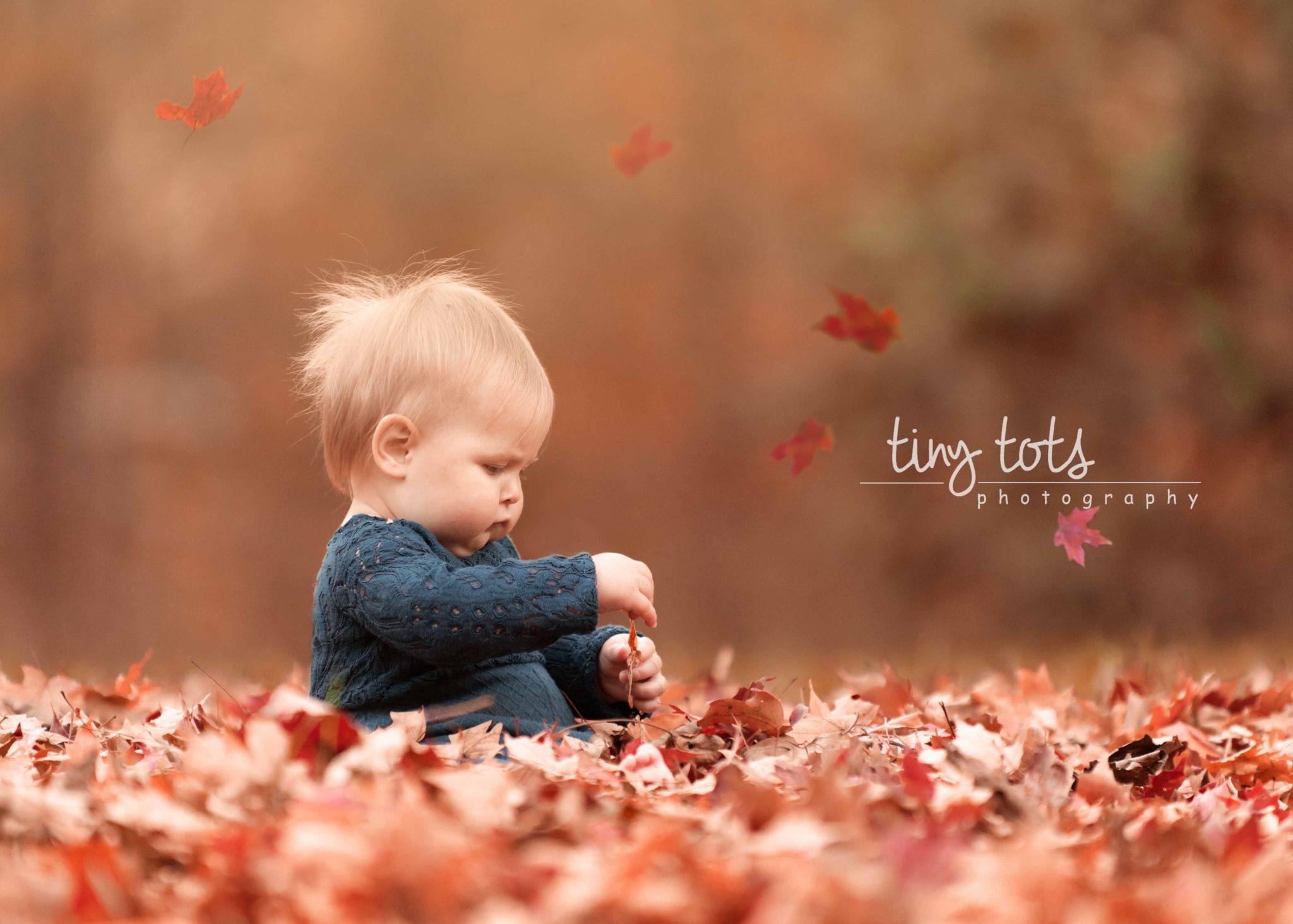 Baby girl sitting leaf pile fall